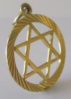 "Vintage 9ct Yellow Gold Circular ""Star Of David"" (1.2g) Charm/Pendant"