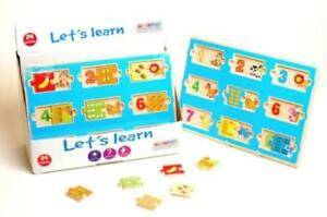 LETS LEARN WOODEN NUMBER PUZZLE COUNT FUN WOOD JUGSAW ANIMAL EDUCATIONAL