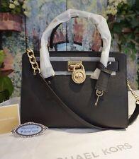 NWT Michael Kors HAMILTON E/W Satchel Tote Saffiano Leather Bag In BLACK $298