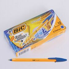 x12 Blue BIC Orange Fine 0.7mm Ball Point Pen Easy Glide Ink - 1Box / 12pc New