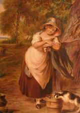 Perfect Oil painting A young milk maid and her mischievous companion on canvas