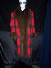 Vtg Bill Blass Coat 70's long plaid jacket fur trim Sz 10 Kaufmann's Vendome