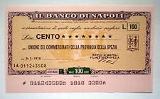LOTTO 100 MINIASSEGNI BANCO DI NAPOLI 9/3/76 UNIONE COM. SPEZIA FIOR DI STAMPA