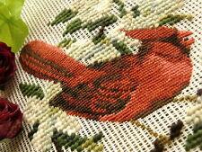 vtg. PREWORKED Needlepoint Canvas Bird PETIT POINT -Cardinal on Dogwood Flowers