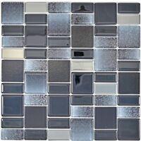 Glasmosaik schwarz Fliesenspiegel Küche Wandverkleidung Bad 68-035B | 10 Matten