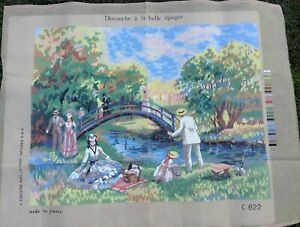 Unworked Needlepoint Tapestry Canvas Dimanche a la Belle Epoque France No Thread