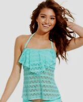 Hula Honey Crochet Flounce Bandeau Tankini Swimsuit Top Seafoam Size X-Small