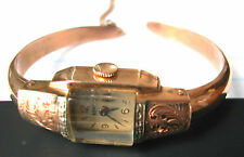 DOXA - VINTAGE MECHANICAL WOMENS GOLD WATCH AND 14K GOLD BANGLE-19.6 GRAMS