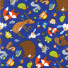 Woodland Toss Animals Timeless Treasures Royal Blue cotton Fabric by the yard