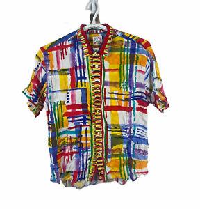 Vintage Jams World Hawaiian Shirt Size XL Aloha Colorful Art Abstract 1980s