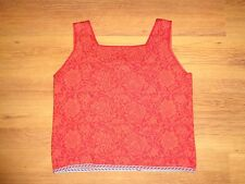 OLEANA AWESOME RED WOOL AND SILK FLORAL KNITTED SQUARE NECK ESPELAND TANK TOP-XL