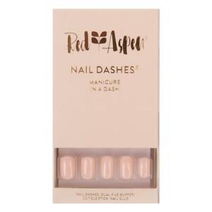 RED ASPEN Reusable Glue On Nails Short Square White Sand Natural Mani 24 Nails