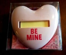 """New 3M Post It Note Dispenser PINK HEART Be Mine 3"""" x 3"""" Weighted w/ Notes"""