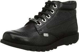 Kickers Women's Kick Hi Luxe Ankle Boot Black Girls School Shoes Size 3 S19E3