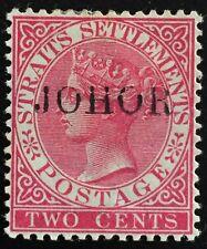 MALAYA 1890 JOHOR opt STRAITS SETTLEMENTS QV 2c Mint H NG SG#10c M1377