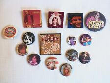 Lot of 15 Pins / Buttons - Vintage 70s and 80s Classic Rock