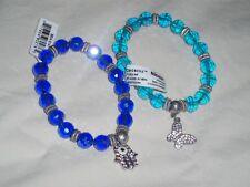 Set Lot 2 Stretch Nicole Arm Bracelets Lt & Dk Blue With Rhinestone Charms NWT *