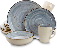 Elama Round Stoneware Luxurious Mellow Dinnerware Dish Set (16 Piece)