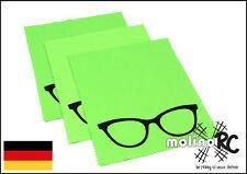 3x Brillenputztuch groß grün Brille Poliertuch Mikrofaser Reinigungstuch Display