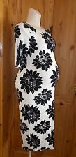 NEXT cream off-white black floral stretch short sleeve dress MATERNITY 10 38