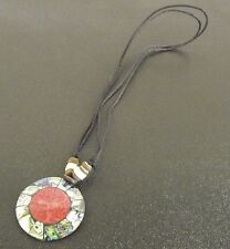 Hand Made Round Shell Pendant Necklace With Suede Chord Abalone & Coral