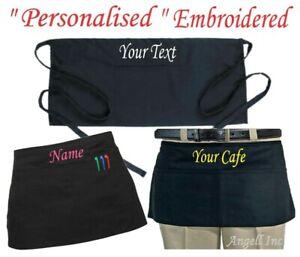 PERSONALISED APRON Short Waist Belt BISTRO Pocket  Bar Cafe Pub Waiter Waitress