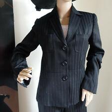 Vtg ADEC2 Pant Suit Pinstripe Wool Blend Trousers Wide Sz 6/40 Jacket Sz 4/38