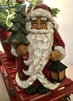 Carved Wood Look Made Of Resin-Christmas SANTA Holding A Lantern & Tree-New