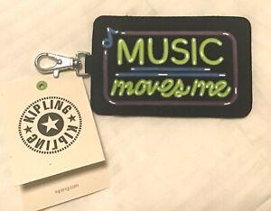 Kipling Key Card Pouch- Music Moves Me- black green purple-silver trigger hook