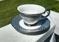 Ciroa Luxe Silver Porcelaine Tea Cup and saucer. Lattice design. Free Shipping!