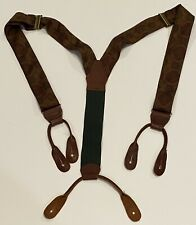 Polo Ralph Lauren Green Gold Red Floral Mens Suspenders Braces Leather Silk