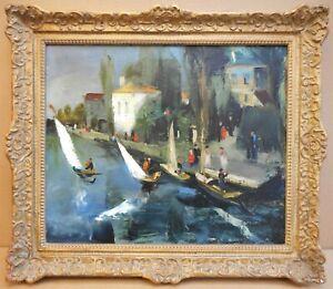 Saint-Cloud, Seine, Paris. Original Oil by listed German artist Adolf Bode, 1930