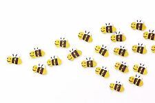 Bee Wooden Button Small Yellow Bees Animal Sew On Baby Children Wood Beads 20pcs