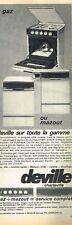 H- Publicité Advertising 1965 Les Cuisinières gaz ou mazout Deville