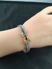 Beautiful Lab Sapphire, Baguette & Round CZ Soft Bangle Silver Bracelet 7.75