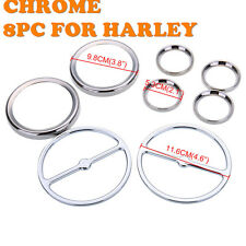 8pcs Chrome Speedometer Gauges Bezels and Horn Cover For Harley Davidson Tour us