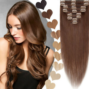 """8 Pieces Standard Clip In Real Remy Human Hair Extensions Full Head 8-24"""" Brown"""