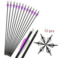 """12pcs Archery Carbon Arrows 30"""" SP500 Arrowheads Compound Recurve Bow Hunting"""