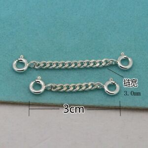 3.0mm Sterling Silver Safety Chain Extender Necklace/Bracelet Extension Stamped