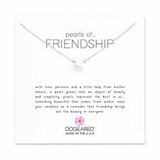 """Dogeared Sterling Silver Large 8mm Pearls Of Friendship 16""""-18""""  Boxed Necklace"""