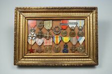 WWI/WWII FRENCH PILOT'S MEDAL GROUPING IN OLD FRAME - PROBABLE WWII KIA