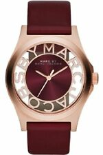 MARC JACOBS HENRY ROSE GOLD TONE,MAROON LEATHER BAND,SKELETON WATCH MBM1274