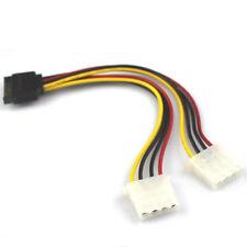 15 Pin SATA Male to 2 Female 4 Pin Molex Female IDE HDD Power Hard Drive Cable