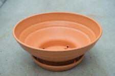 39cm Outdoor Garden Patio Round Terracotta Plastic Plant Pot Bowl Saucer