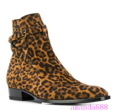 Mens Leopard Printed Buckles Ankle Boots Western Suede Leather High Top Shoes Sz