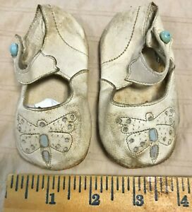 """Antique 1930 Ivory White LEATHER BIG Doll Shoes German Bisque Composition 4.25"""""""