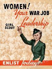 """""""Women!  Your War Job"""" 1943 Girl Scout World War 2 Poster - 18x24"""