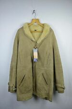 VINTAGE Mens HARRODS Sherling SHEEPSKIN Zipper Jacket Coat Small 44 Cream RL1DN