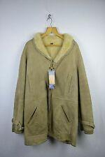 VINTAGE Mens HARRODS Sherling SHEEPSKIN Zipper Jacket Coat Small 44 Cream RL1DN