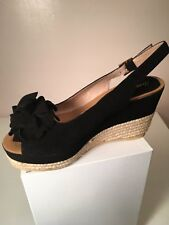 3338151cd8994 Women s Black Suede Wedge Heel Open Toe Slingback with flower Espadrilles 9  1 2